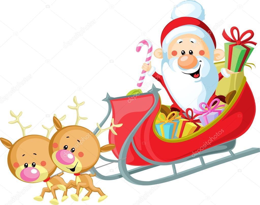 santa sleigh and reindeer isolated on white background u2014 stock