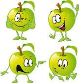 Fotografia cartone animato di mela verde con la mano