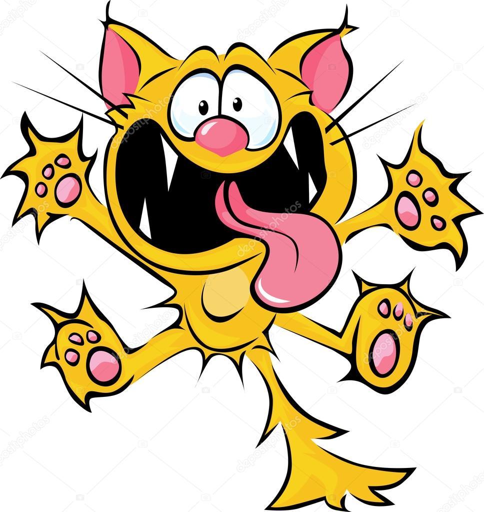 Cartone animato gatto pazzo sputi e graffi — vettoriali