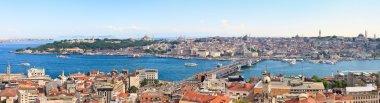 galata Kulesi İstanbul panoramik görünümüne golden horn, Türkiye