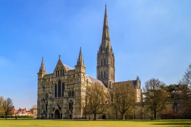 Salisbury Cathedral Front view and park on sunny day, South Engl