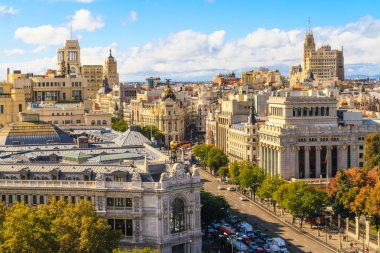Madrid cityscape and aerial view of of Gran Via shopping street,