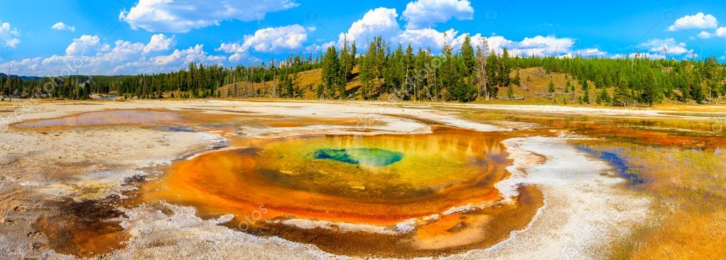 Chromatic Pool Panorama, Yellowstone National Park, Upper Geyser