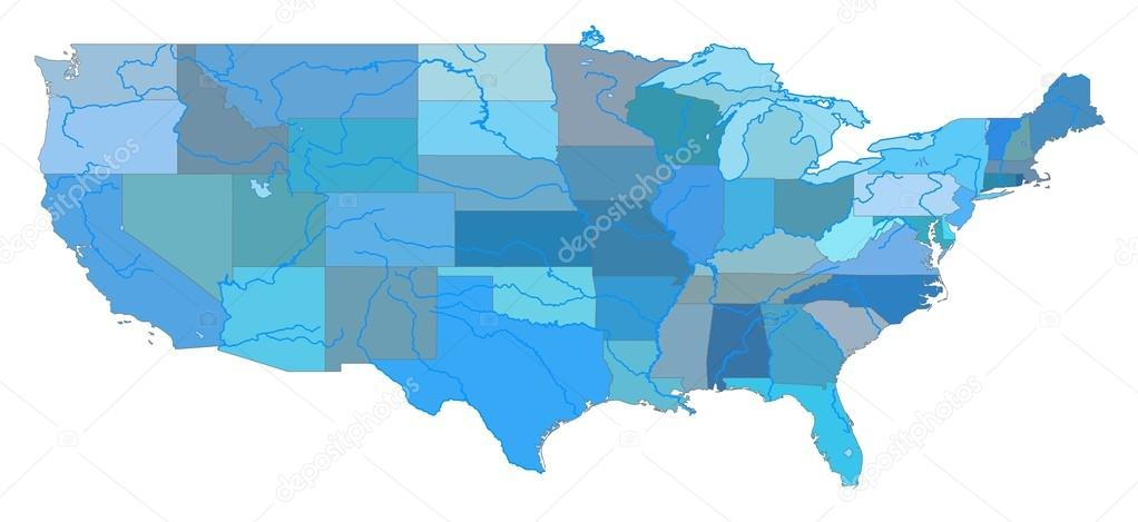 United States Colored Map — Stock Photo © IulianGherghel #13843869