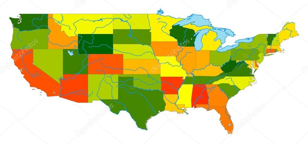 Map Of The United States To Color.United States Colored Map Stock Photo C Iuliangherghel 13843876