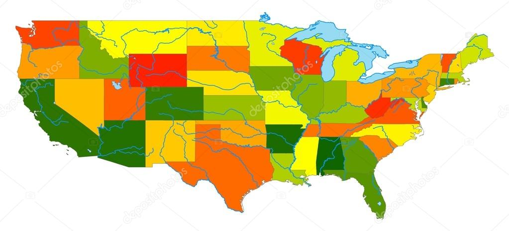 United States Colored Map — Stock Photo © IulianGherghel #13843877