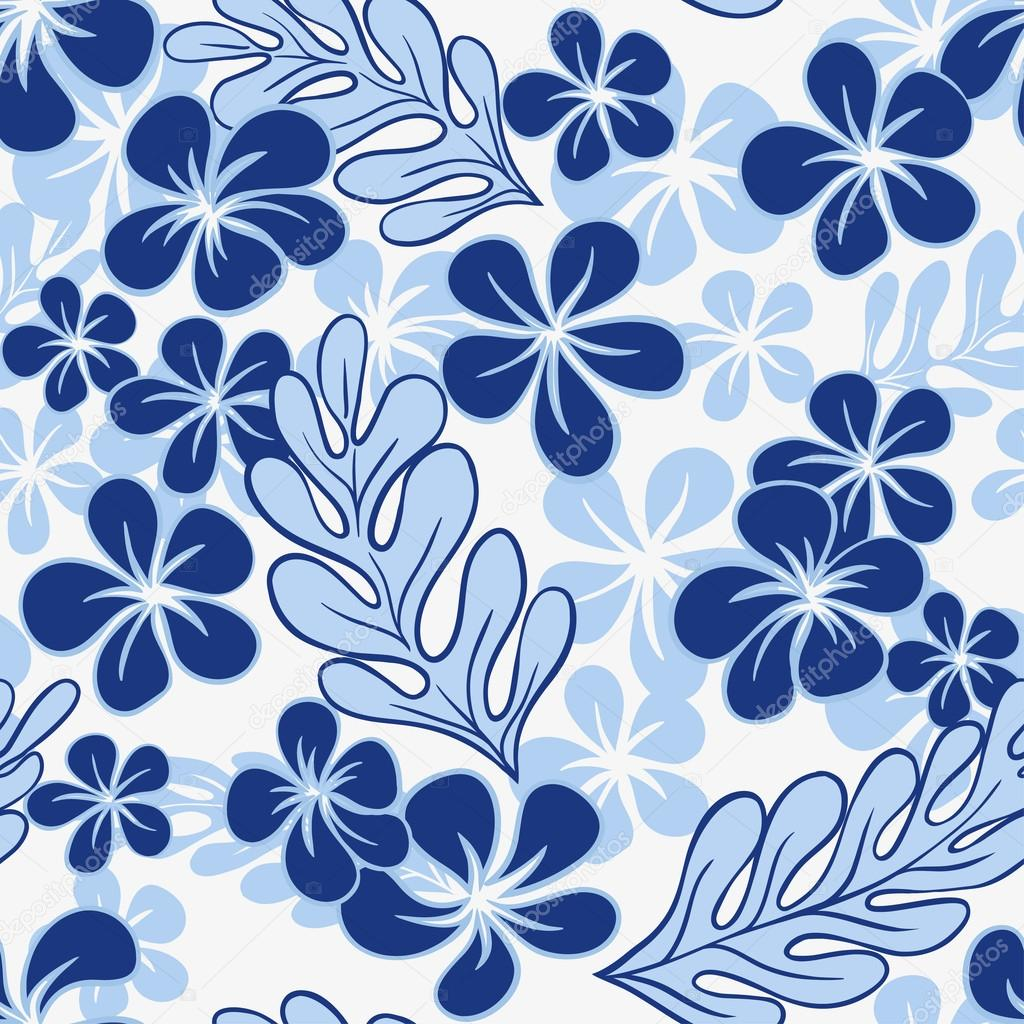 Vector Blue Tropical Flowers Seamless Pattern