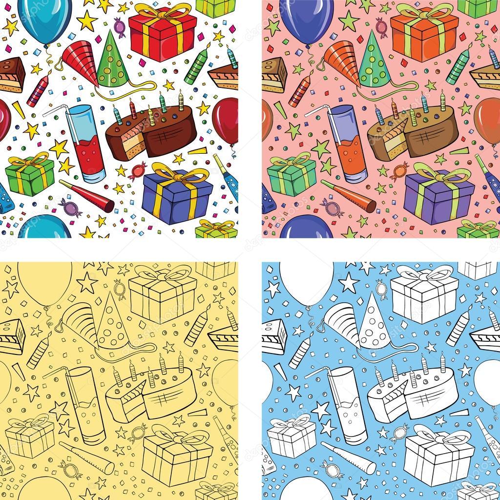 Naadloze Verjaardag Patroon Wallpaper Illustratie Stockvector