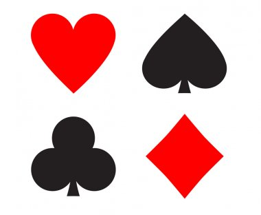 Simple playing cards signs (hearts, clubs, spades, diamonds) clip art vector