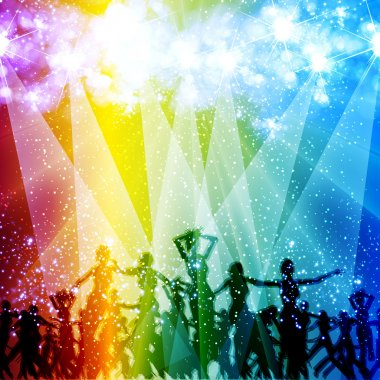 Light stage background with dancing