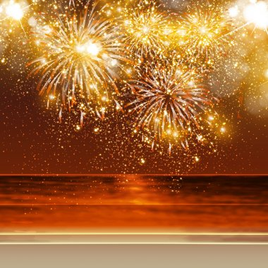 Happy New Year fireworks background in summer