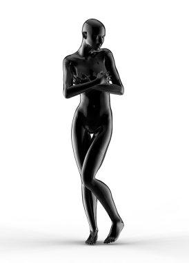 3d woman portrait, black glass