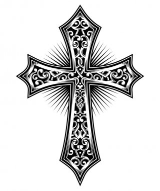 Vector illustration of carved cross, Image suitable for printing on a T-shirt, as well as for all types of printing. This image can be use for tattoo or tribal. stock vector