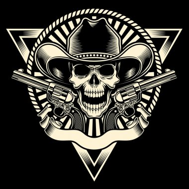 Fully editable vector illustration of cowboy skull with revolver on isolated black background, image suitable for emblem, insignia, badge, crest, tattoo or t-shirt design stock vector