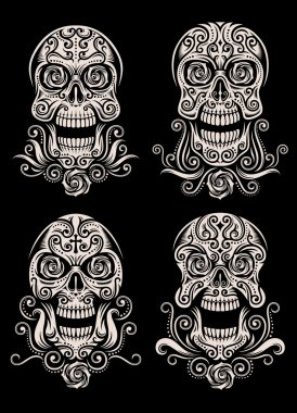 Day of The Dead Skull Tattoo Vector Set