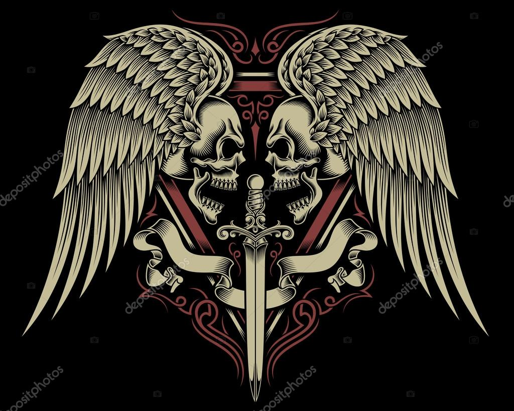 Two Faced Skull With Wings and Sword