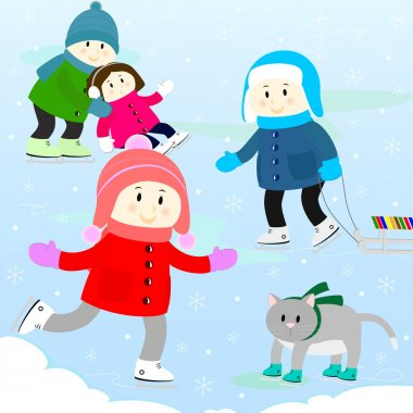 Children and the cat skating on the skating-rink clip art vector