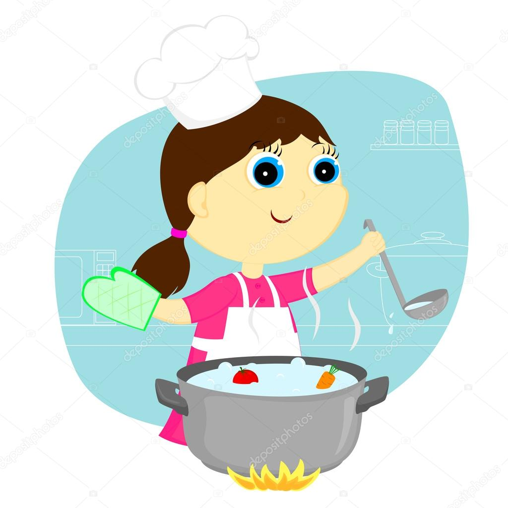 Cocinero de chica vector de stock zdanu4ka 24795893 - Nina cocinando ...