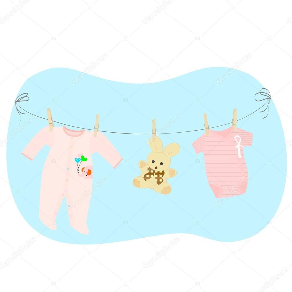 Kinderkleidung auf wäscheleine  einer Wäscheleine Kinderkleidung — Stockvektor #27323931
