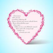 Vektor kreslené růžové vtipné srdce na modrém pozadí