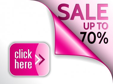 Vector pink curled corner with sale and click here button