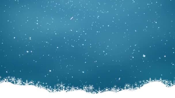 sníh na modrém pozadí