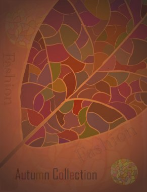 Autumn Collection advertising Poster with a mosaic leaf.