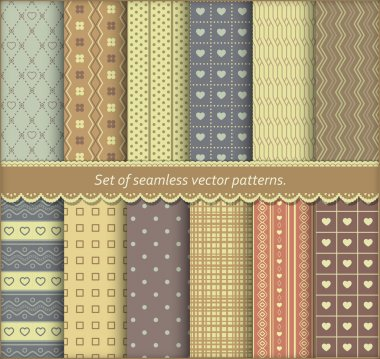 Set of pattern papers for scrapbook or pack. Vector seamless backgrounds. stock vector