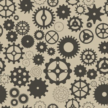 Seamless background with different gear wheels.