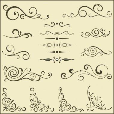 Set of vector swirl elements for design. clip art vector