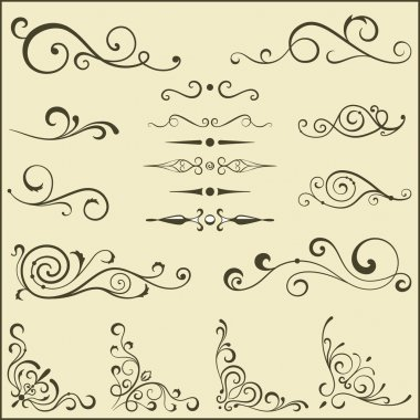 Set of vector swirl elements for design.