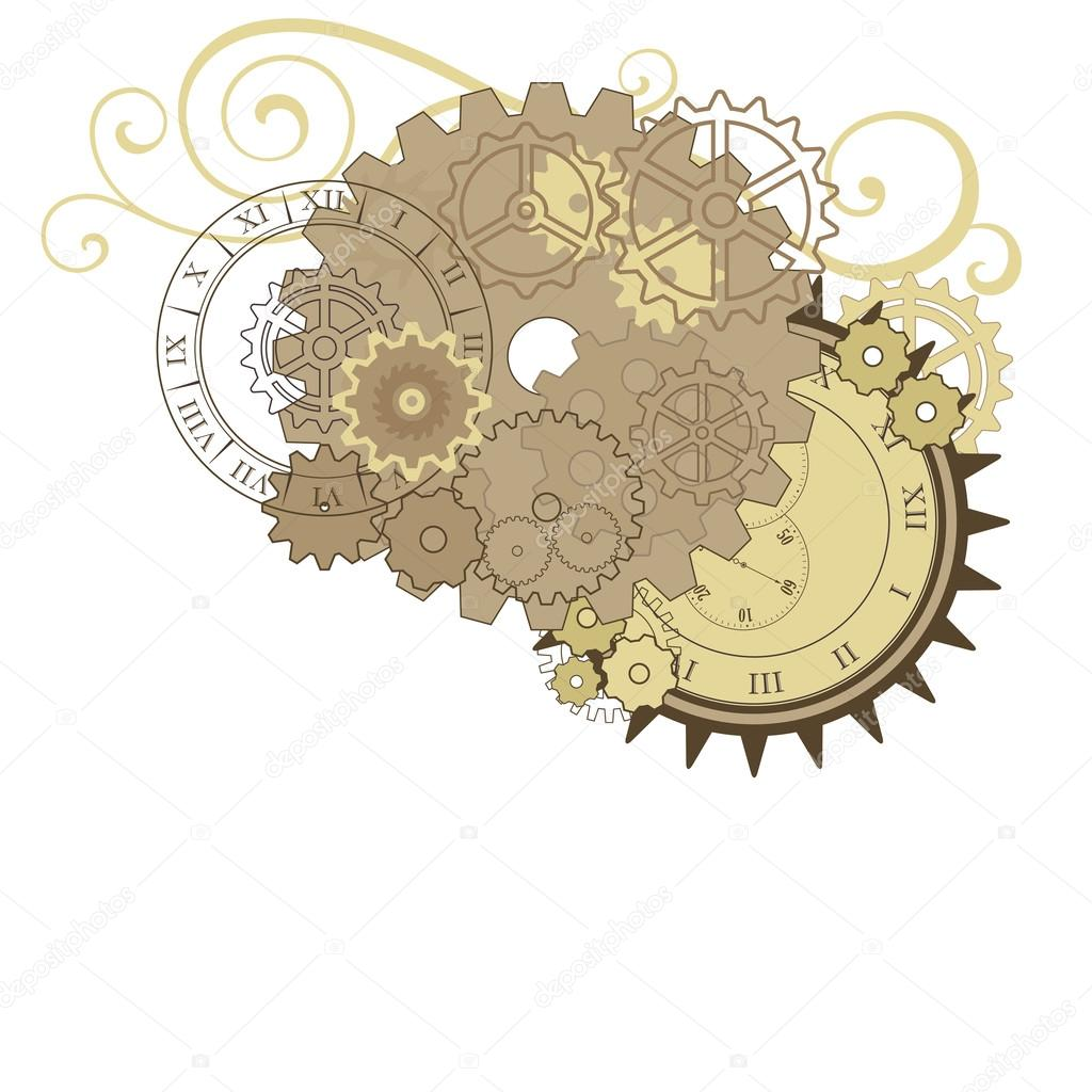 Collage with different gears, dials and swirls.