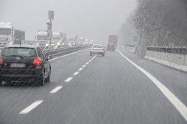 bad weather on the motorway
