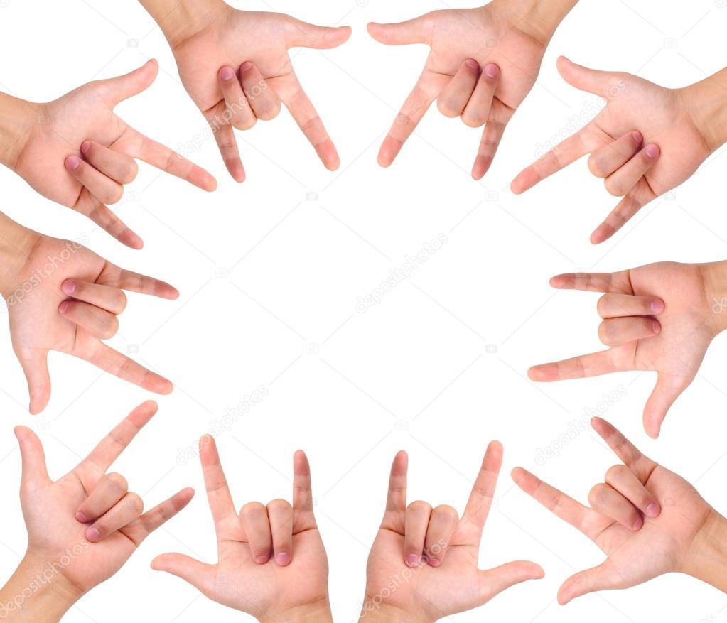 Compilación de amor mano signos aislado en blanco con un espacio de copia -  señales con la mano de amor — Foto de Teerapun — Foto de Teerapun 9efa99da61c57