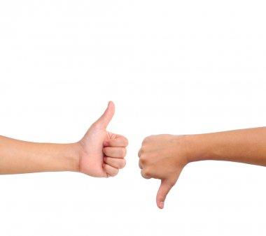 Thumb up and thumb down hand signs