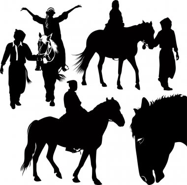 Horses animals equestrian sport isolated on white background