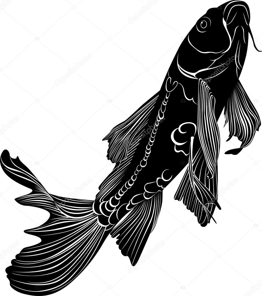Koi fish stock vector weter777 37388549 for Black white koi