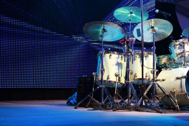 Drumset on stage for a live concert
