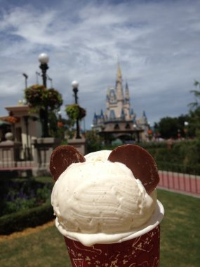 Ice cream on the background of Priscilla's Castle, Disney world, Orlando, Florida, USA
