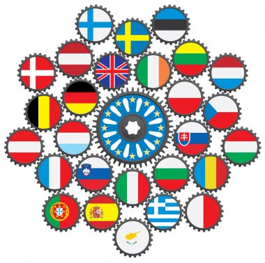 The work of the EU in the form of gears.