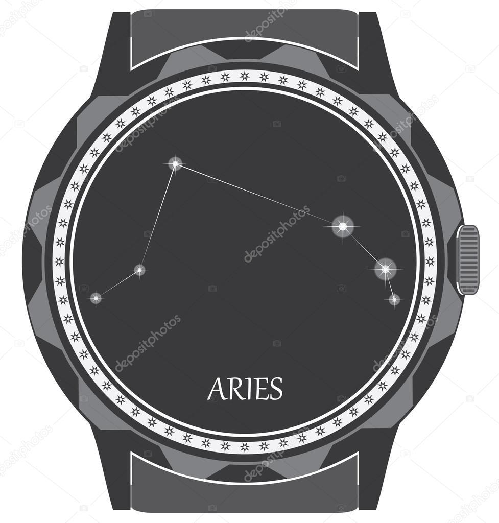 172e20a20ee hodinky ciferník s zodiac znamení Beran — Stock Vektor © stanokkk ...