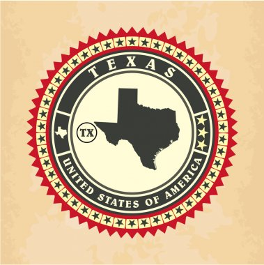 Vintage label-sticker cards of Texas