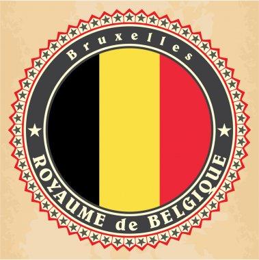 Vintage label cards of Belgium flag.