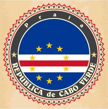 Vintage label cards of Cape Verde flag.