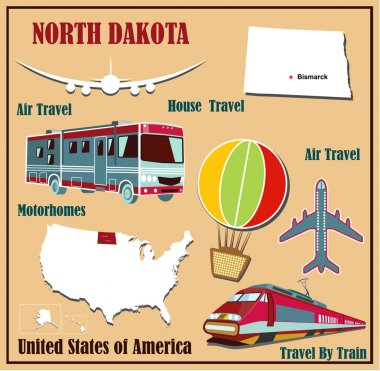 Flat map of North Dakota in the U.S. for air travel by car and train.