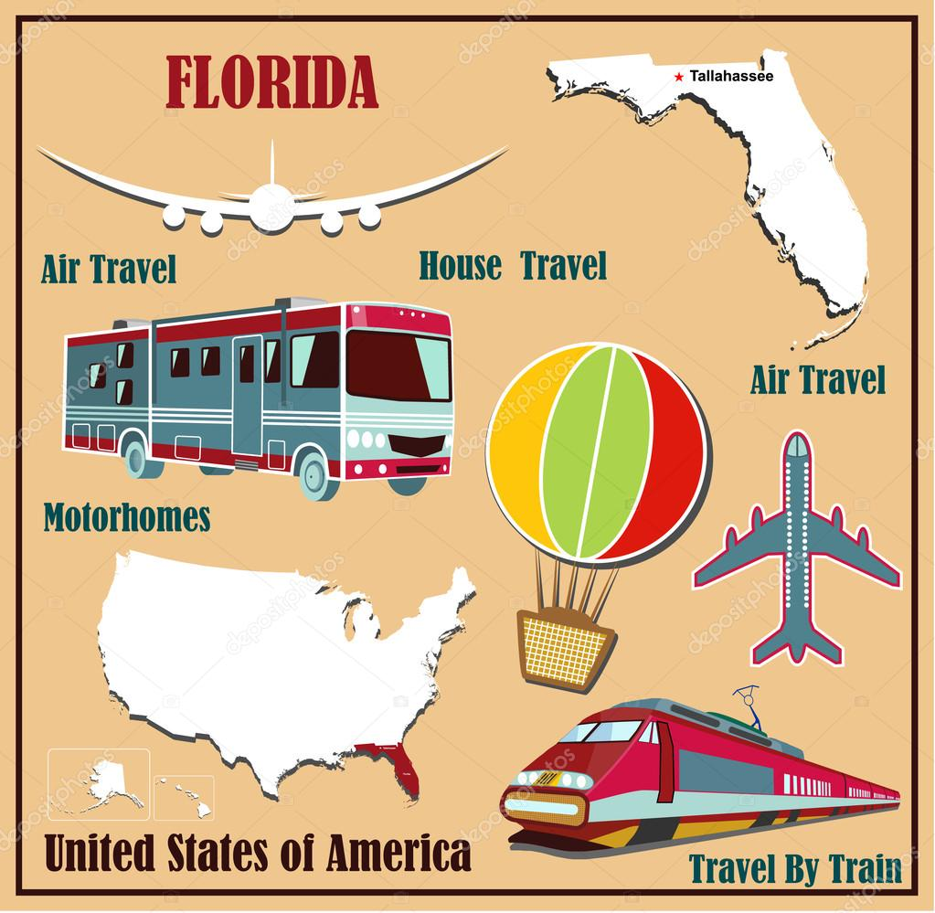 Flat Map Of Florida In The US For Air Travel By Car And Train V - Map of florida in us