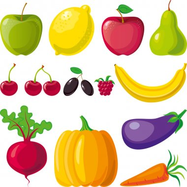 Fruits vegetables and berries vector borders. clip art vector