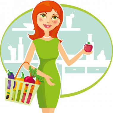 A beautiful redhead girl holding an apple and a basket with healthy food. Vector illustration clip art vector