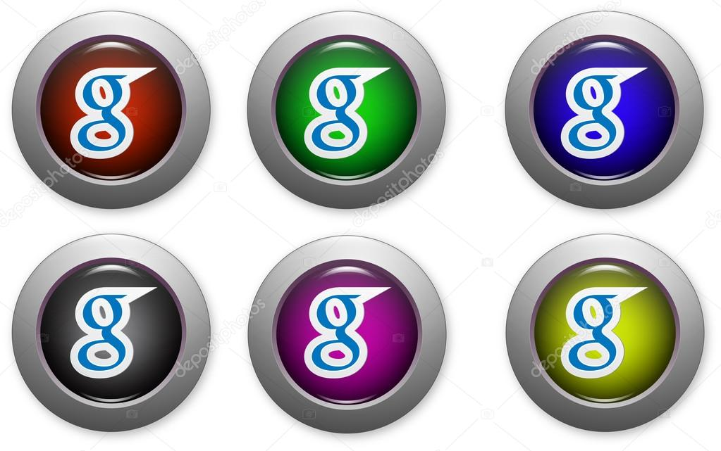 Web buttons with social media logo