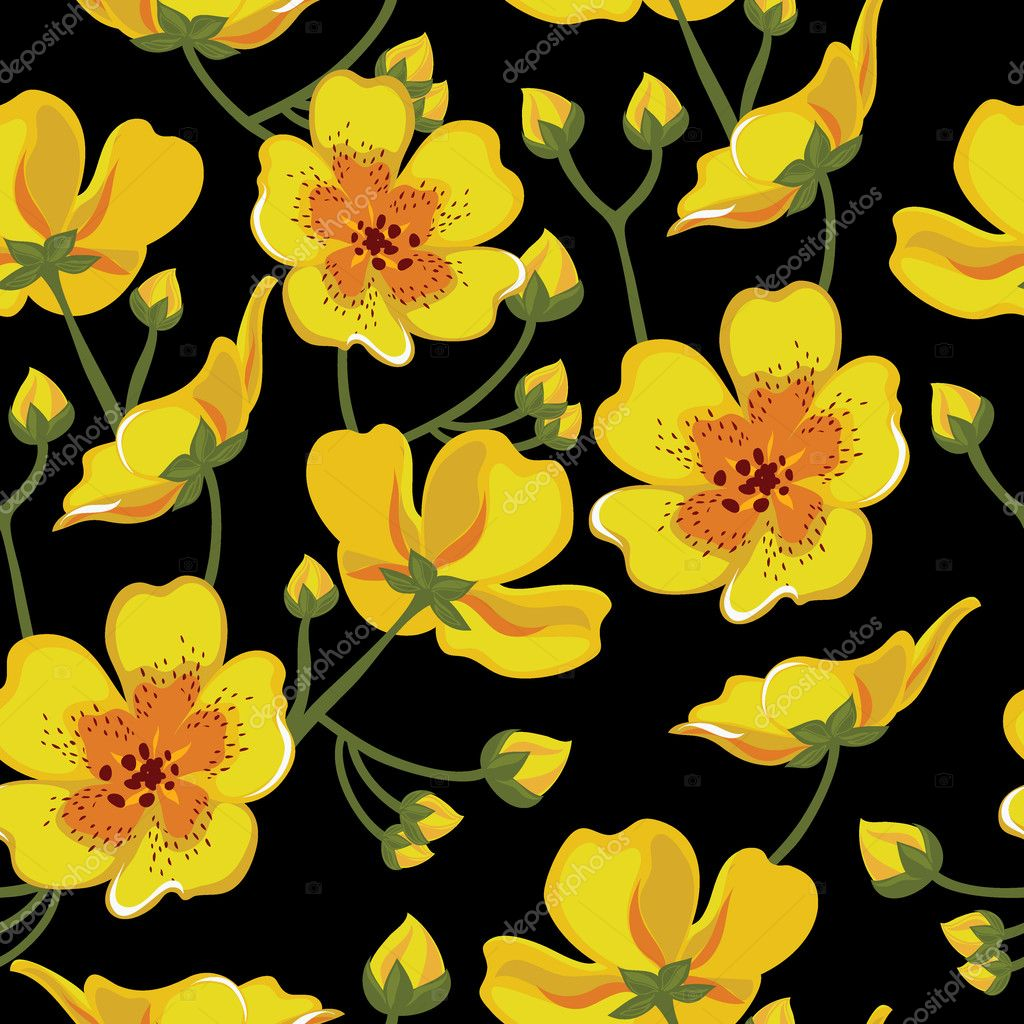 Floral seamless pattern with beautiful flowers, hand-drawing.